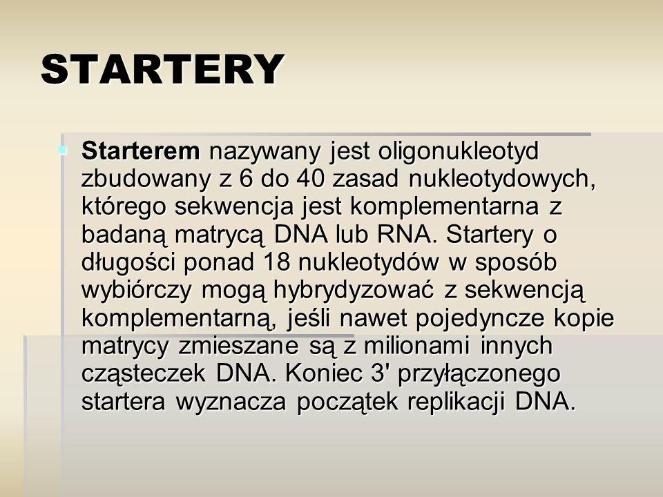 CYKL PCR 1.Denaturacja DNA (92-96 0 C) 2.Przyłączanie starterów do matrycy (37-72 0 C) 3.Polimeryzacja DNA (72 0 C )