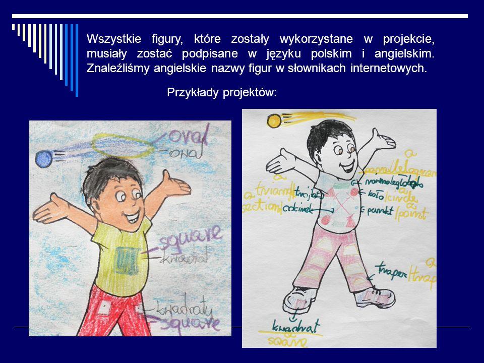 Wszystkie figury, które zostały wykorzystane w projekcie, musiały zostać podpisane w języku polskim i angielskim. Znaleźliśmy angielskie nazwy figur w