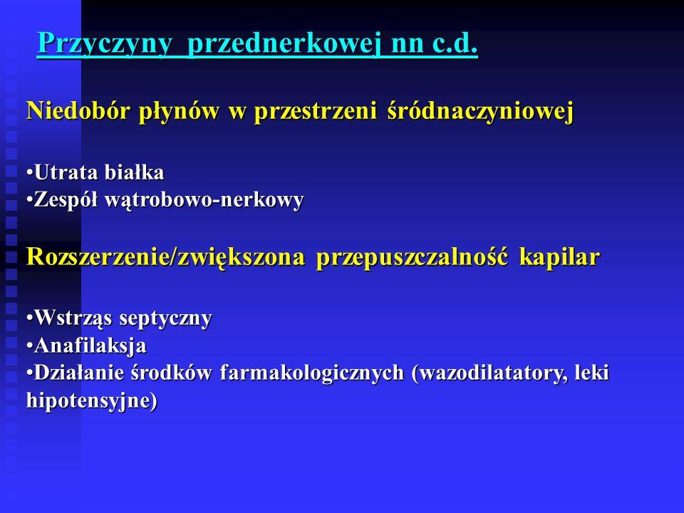 Niedobór płynów w przestrzeni śródnaczyniowej Utrata białkaUtrata białka Zespół wątrobowo-nerkowyZespół wątrobowo-nerkowy Rozszerzenie/zwiększona przepuszczalność kapilar Wstrząs septycznyWstrząs septyczny AnafilaksjaAnafilaksja Działanie środków farmakologicznych (wazodilatatory, leki hipotensyjne)Działanie środków farmakologicznych (wazodilatatory, leki hipotensyjne) Przyczyny przednerkowej nn c.d.