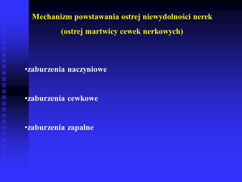 Mechanizm powstawania ostrej niewydolności nerek (ostrej martwicy cewek nerkowych) zaburzenia naczyniowe zaburzenia cewkowe zaburzenia zapalne