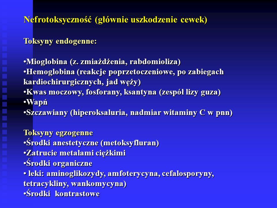 Nefrotoksyczność (głównie uszkodzenie cewek) Toksyny endogenne: Mioglobina (z.