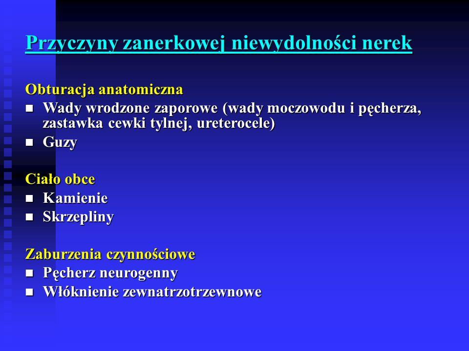 Przyczyny zanerkowej niewydolności nerek Obturacja anatomiczna Wady wrodzone zaporowe (wady moczowodu i pęcherza, zastawka cewki tylnej, ureterocele) Wady wrodzone zaporowe (wady moczowodu i pęcherza, zastawka cewki tylnej, ureterocele) Guzy Guzy Ciało obce Kamienie Kamienie Skrzepliny Skrzepliny Zaburzenia czynnościowe Pęcherz neurogenny Pęcherz neurogenny Włóknienie zewnatrzotrzewnowe Włóknienie zewnatrzotrzewnowe