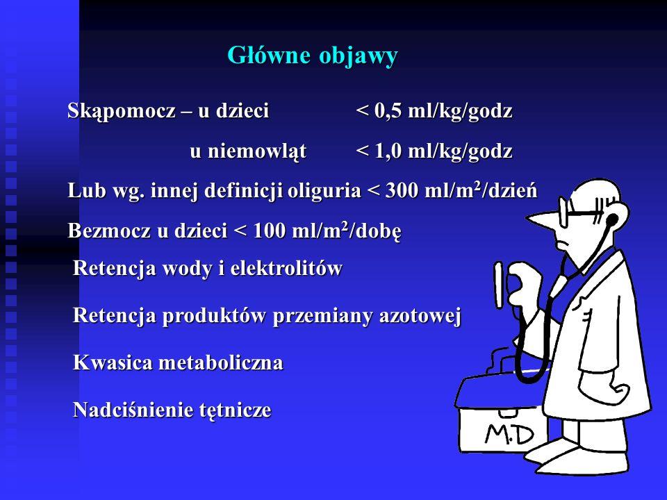 Główne objawy Skąpomocz – u dzieci < 0,5 ml/kg/godz u niemowląt < 1,0 ml/kg/godz u niemowląt < 1,0 ml/kg/godz Lub wg.
