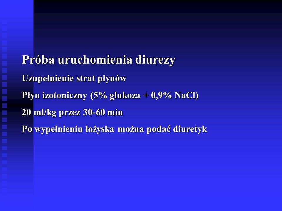 Próba uruchomienia diurezy Uzupełnienie strat płynów Płyn izotoniczny (5% glukoza + 0,9% NaCl) 20 ml/kg przez 30-60 min Po wypełnieniu łożyska można podać diuretyk