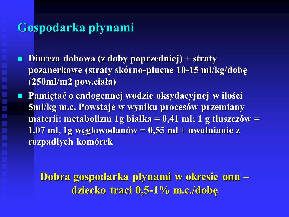 Gospodarka płynami Diureza dobowa (z doby poprzedniej) + straty pozanerkowe (straty skórno-płucne 10-15 ml/kg/dobę (250ml/m2 pow.ciała) Diureza dobowa (z doby poprzedniej) + straty pozanerkowe (straty skórno-płucne 10-15 ml/kg/dobę (250ml/m2 pow.ciała) Pamiętać o endogennej wodzie oksydacyjnej w ilości 5ml/kg m.c.