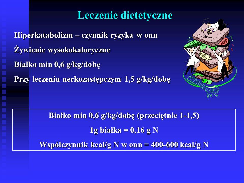 Leczenie dietetyczne Hiperkatabolizm – czynnik ryzyka w onn Żywienie wysokokaloryczne Białko min 0,6 g/kg/dobę Przy leczeniu nerkozastępczym 1,5 g/kg/dobę Białko min 0,6 g/kg/dobę (przeciętnie 1-1,5) 1g białka = 0,16 g N Współczynnik kcal/g N w onn = 400-600 kcal/g N