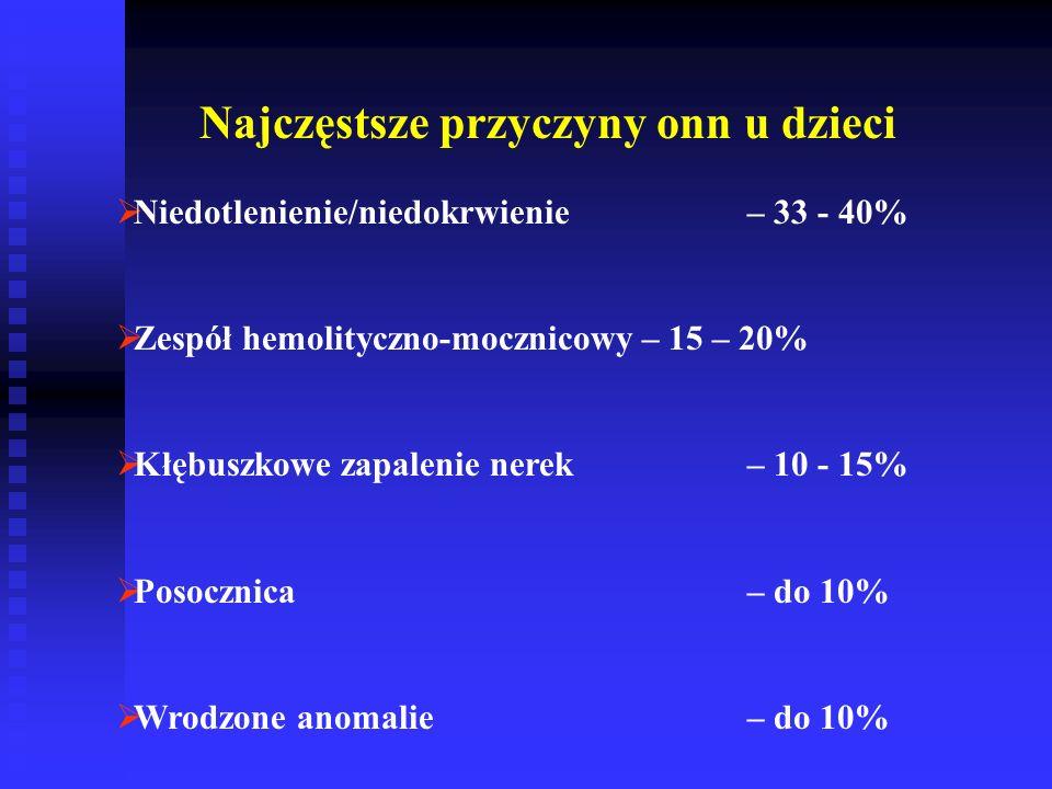Najczęstsze przyczyny onn u dzieci  Niedotlenienie/niedokrwienie – 33 - 40%  Zespół hemolityczno-mocznicowy– 15 – 20%  Kłębuszkowe zapalenie nerek– 10 - 15%  Posocznica – do 10%  Wrodzone anomalie – do 10%