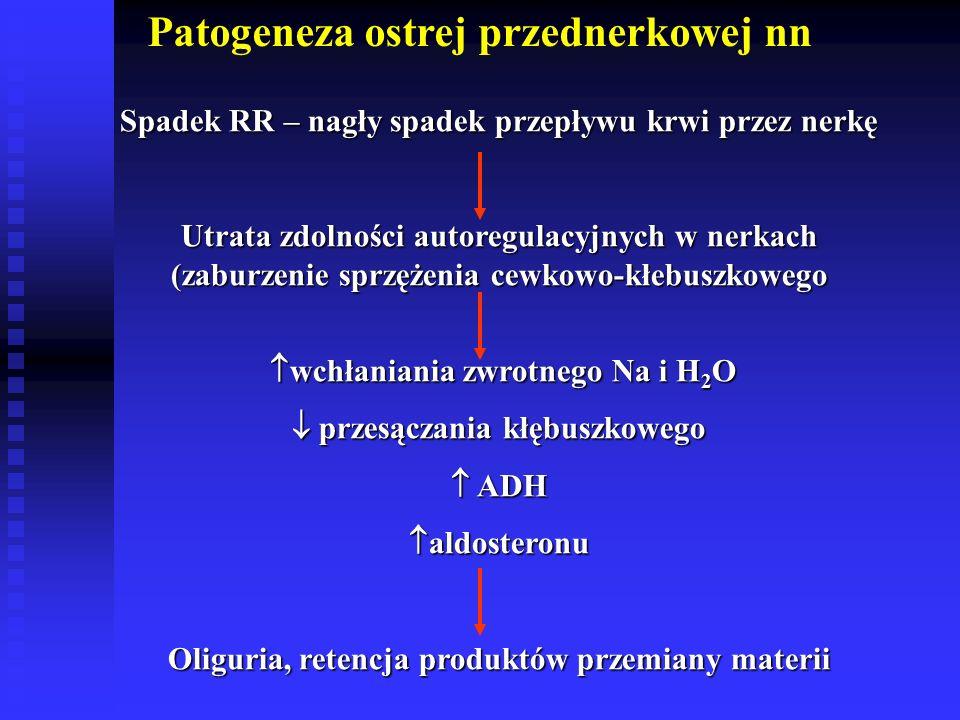 Patogeneza ostrej przednerkowej nn Spadek RR – nagły spadek przepływu krwi przez nerkę Utrata zdolności autoregulacyjnych w nerkach (zaburzenie sprzężenia cewkowo-kłebuszkowego  wchłaniania zwrotnego Na i H 2 O  wchłaniania zwrotnego Na i H 2 O  przesączania kłębuszkowego  ADH  aldosteronu Oliguria, retencja produktów przemiany materii