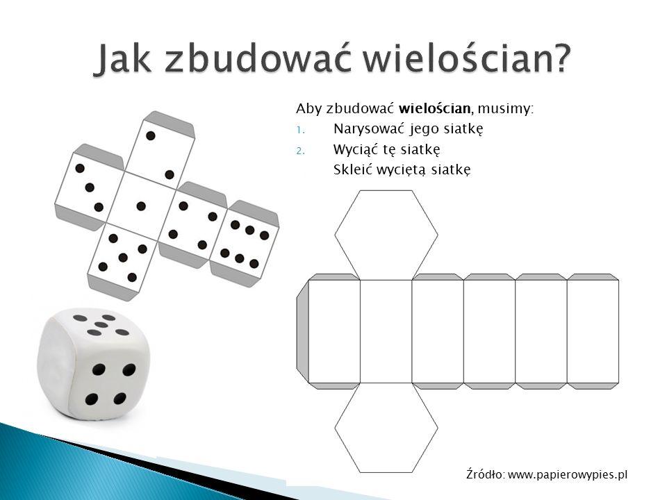 Aby zbudować wielościan, musimy: 1. Narysować jego siatkę 2. Wyciąć tę siatkę 3. Skleić wyciętą siatkę Źródło: www.papierowypies.pl