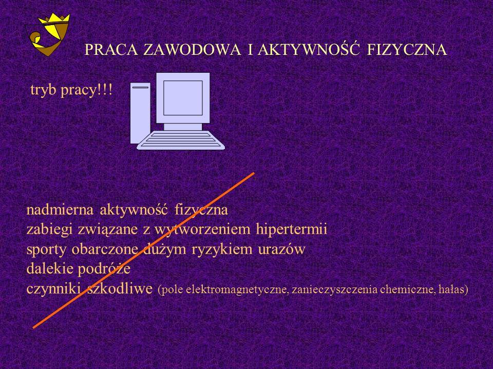 PRACA ZAWODOWA I AKTYWNOŚĆ FIZYCZNA tryb pracy!!.