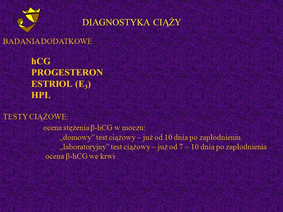 """DIAGNOSTYKA CIĄŻY BADANIA DODATKOWE hCG PROGESTERON ESTRIOL (E 3 ) HPL TESTY CIĄŻOWE: ocena stężenia β-hCG w moczu: """"domowy test ciążowy – już od 10 dnia po zapłodnieniu """"laboratoryjny test ciążowy – już od 7 – 10 dnia po zapłodnienia ocena β-hCG we krwi"""