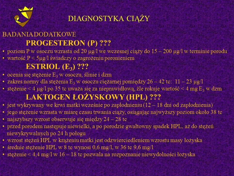 DIAGNOSTYKA CIĄŻY BADANIA DODATKOWE PROGESTERON (P) ??.
