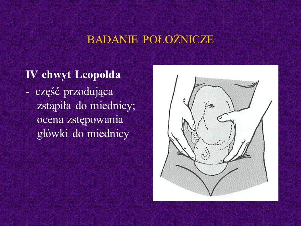 BADANIE POŁOŻNICZE IV chwyt Leopolda - część przodująca zstąpiła do miednicy; ocena zstępowania główki do miednicy