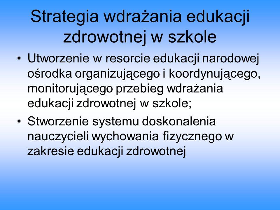 Strategia wdrażania edukacji zdrowotnej w szkole Utworzenie w resorcie edukacji narodowej ośrodka organizującego i koordynującego, monitorującego prze