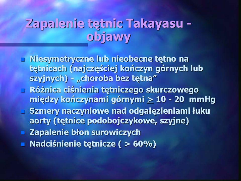 """Zapalenie tętnic Takayasu - objawy n Niesymetryczne lub nieobecne tętno na tętnicach (najczęściej kończyn górnych lub szyjnych) - """"choroba bez tętna"""""""