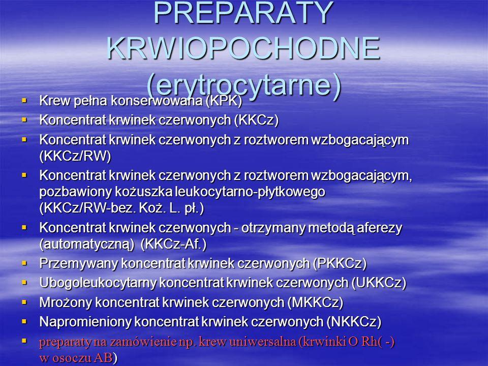 PREPARATY KRWIOPOCHODNE (erytrocytarne)  Krew pełna konserwowana (KPK)  Koncentrat krwinek czerwonych (KKCz)  Koncentrat krwinek czerwonych z roztw