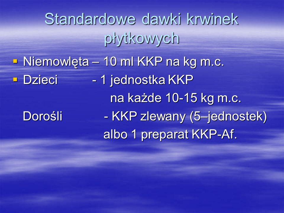Standardowe dawki krwinek płytkowych  Niemowlęta – 10 ml KKP na kg m.c.  Dzieci - 1 jednostka KKP na każde 10-15 kg m.c. na każde 10-15 kg m.c. Doro