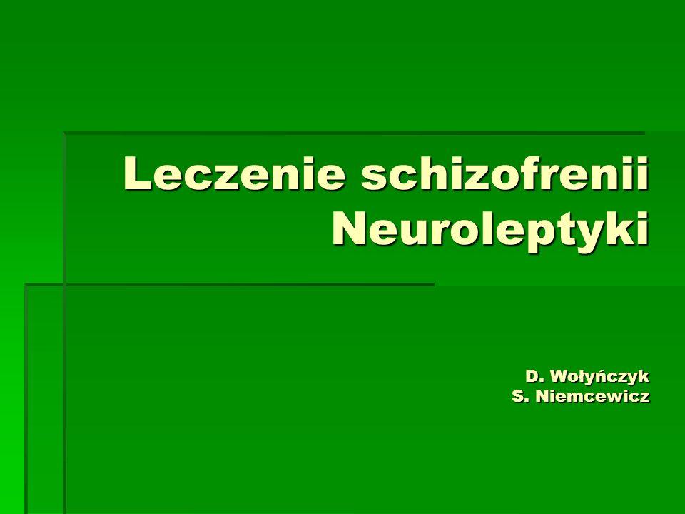 Złośliwy zespół neuroleptyczny  Występuje u 1% leczonych neuroleptykami  Nieleczony w 5-20% kończy się śmiercią  Patofizjologia: Blokada aktywności dopaminergicznej podwzgórza i prążkowia  Predysponowani: młodzi mężczyźni, osoby z uszkodzeniem OUN, osoby odwodnione, osoby z zaburzeniami afektywnymi, częściej po silnych neuroleptykach
