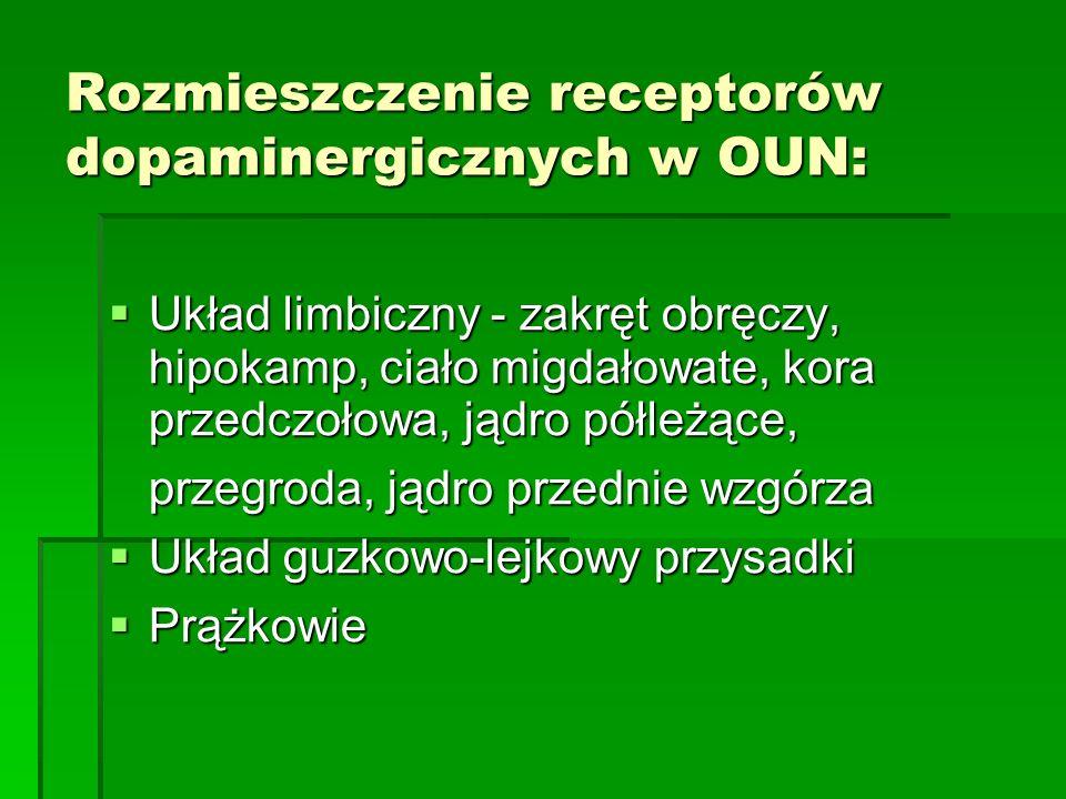 Rozmieszczenie receptorów dopaminergicznych w OUN:  Układ limbiczny - zakręt obręczy, hipokamp, ciało migdałowate, kora przedczołowa, jądro półleżące