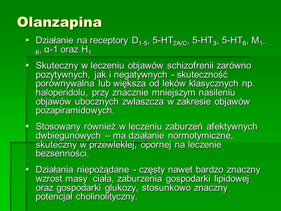 Olanzapina  Działanie na receptory D 1-5, 5-HT 2A/C, 5-HT 3, 5-HT 6, M 1- 6, α-1 oraz H 1  Skuteczny w leczeniu objawów schizofrenii zarówno pozytywnych, jak i negatywnych - skuteczność porównywalna lub większa od leków klasycznych np.