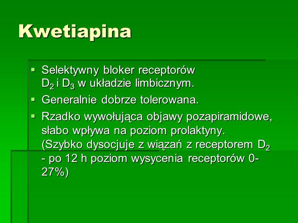 Kwetiapina  Selektywny bloker receptorów D 2 i D 3 w układzie limbicznym.