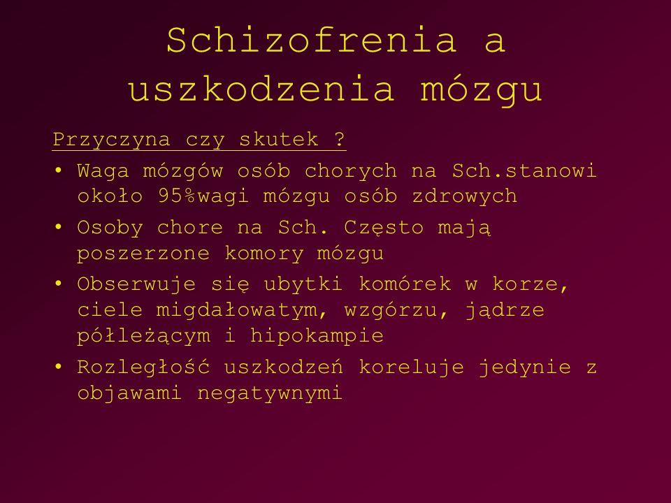 Schizofrenia a uszkodzenia mózgu Przyczyna czy skutek ? Waga mózgów osób chorych na Sch.stanowi około 95%wagi mózgu osób zdrowych Osoby chore na Sch.