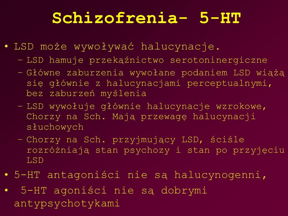 Schizofrenia- 5-HT LSD może wywoływać halucynacje. –LSD hamuje przekąźnictwo serotoninergiczne –Główne zaburzenia wywołane podaniem LSD wiążą się głów