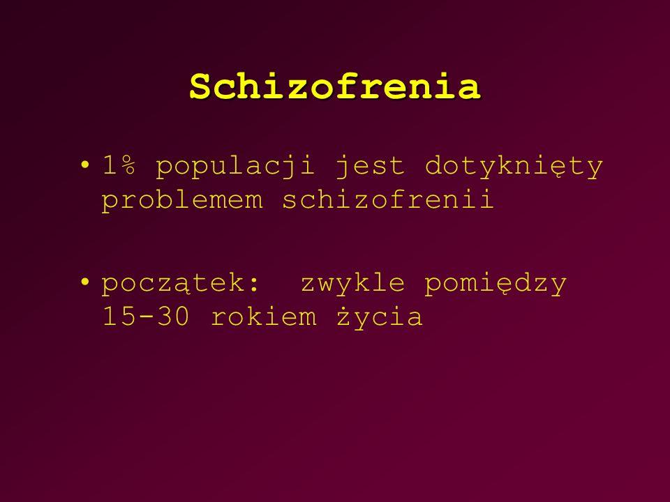 Schizofrenia 1% populacji jest dotyknięty problemem schizofrenii początek: zwykle pomiędzy 15-30 rokiem życia