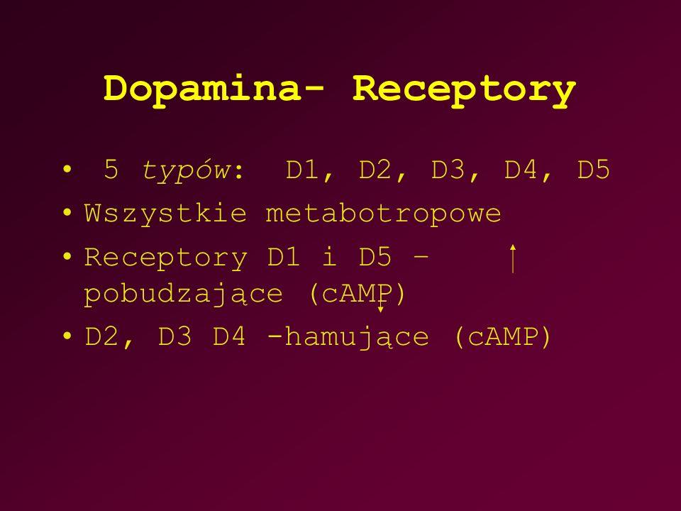 Dopamina- Receptory 5 typów: D1, D2, D3, D4, D5 Wszystkie metabotropowe Receptory D1 i D5 – pobudzające (cAMP) D2, D3 D4 -hamujące (cAMP)