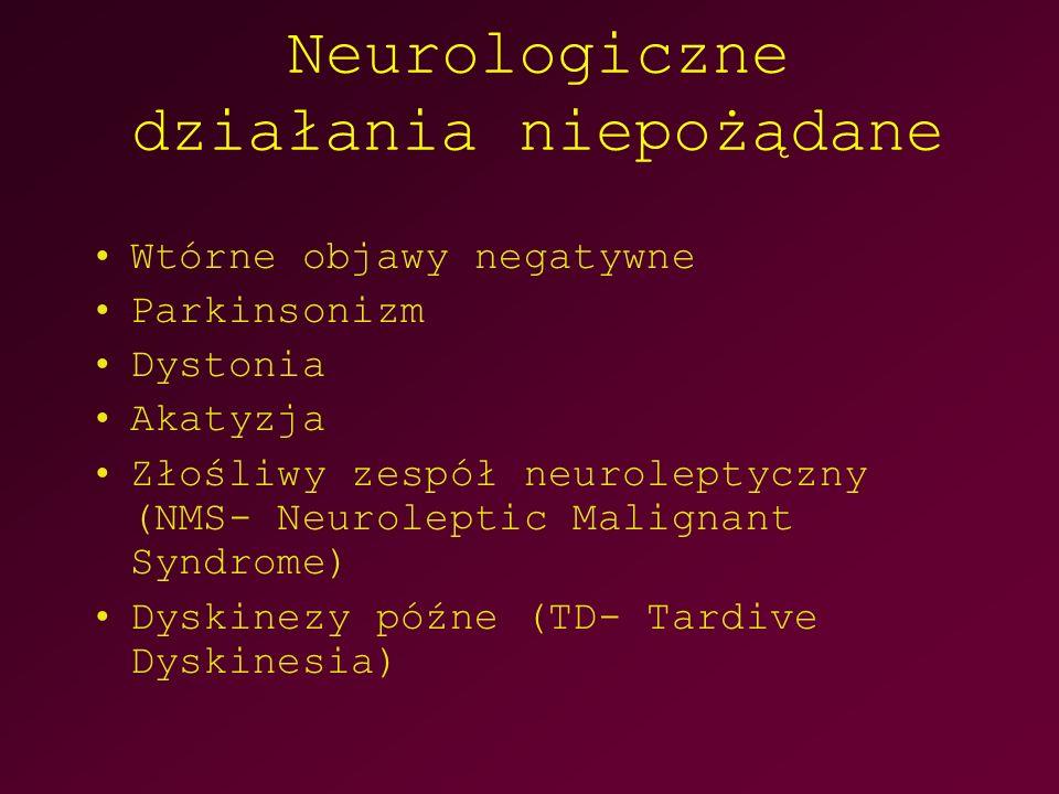 Neurologiczne działania niepożądane Wtórne objawy negatywne Parkinsonizm Dystonia Akatyzja Złośliwy zespół neuroleptyczny (NMS- Neuroleptic Malignant Syndrome) Dyskinezy późne (TD- Tardive Dyskinesia)