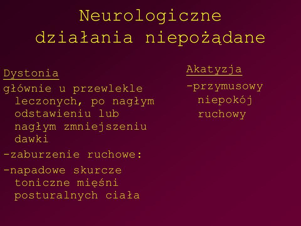 Neurologiczne działania niepożądane Dystonia głównie u przewlekle leczonych, po nagłym odstawieniu lub nagłym zmniejszeniu dawki -zaburzenie ruchowe: -napadowe skurcze toniczne mięśni posturalnych ciała Akatyzja -przymusowy niepokój ruchowy