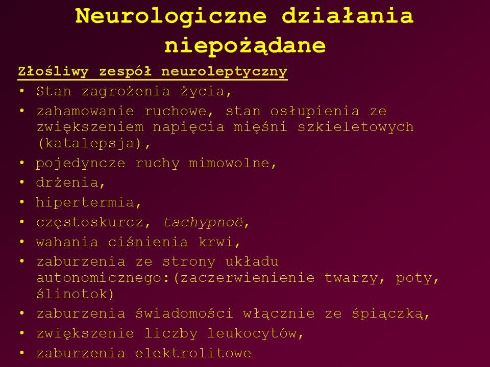 Neurologiczne działania niepożądane Złośliwy zespół neuroleptyczny Stan zagrożenia życia, zahamowanie ruchowe, stan osłupienia ze zwiększeniem napięcia mięśni szkieletowych (katalepsja), pojedyncze ruchy mimowolne, drżenia, hipertermia, częstoskurcz, tachypnoë, wahania ciśnienia krwi, zaburzenia ze strony układu autonomicznego:(zaczerwienienie twarzy, poty, ślinotok) zaburzenia świadomości włącznie ze śpiączką, zwiększenie liczby leukocytów, zaburzenia elektrolitowe