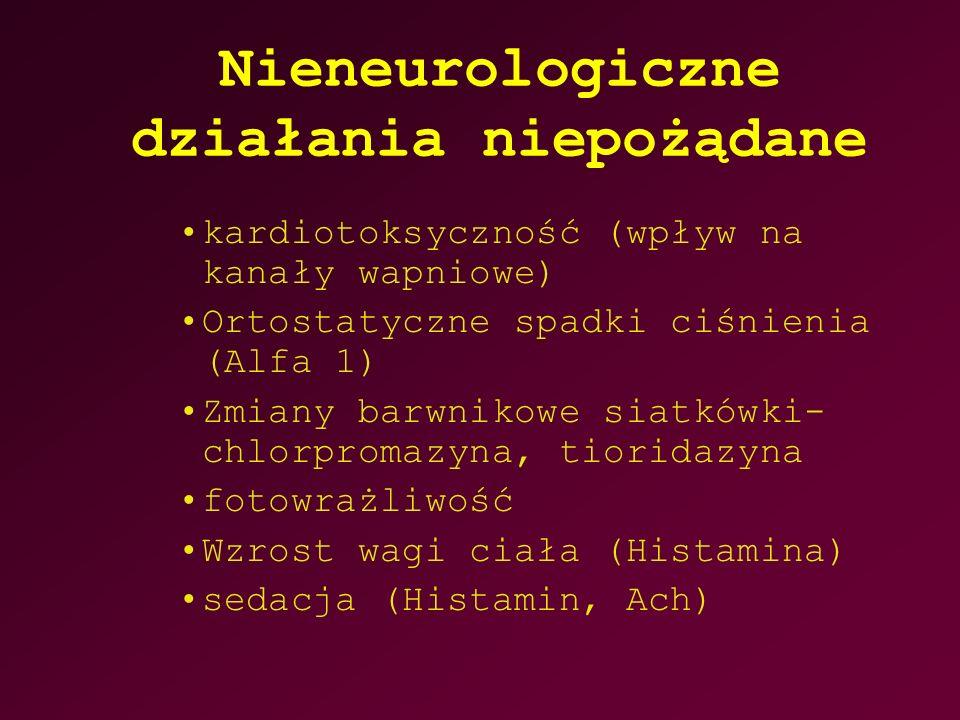 Nieneurologiczne działania niepożądane kardiotoksyczność (wpływ na kanały wapniowe) Ortostatyczne spadki ciśnienia (Alfa 1) Zmiany barwnikowe siatkówki- chlorpromazyna, tioridazyna fotowrażliwość Wzrost wagi ciała (Histamina) sedacja (Histamin, Ach)