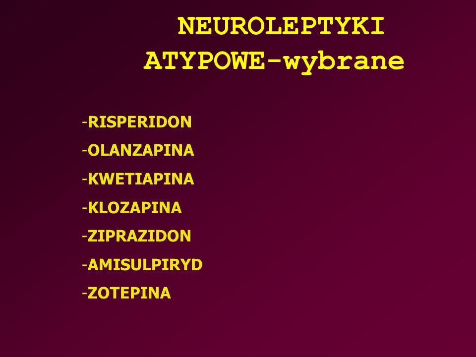 NEUROLEPTYKI ATYPOWE-wybrane -RISPERIDON -OLANZAPINA -KWETIAPINA -KLOZAPINA -ZIPRAZIDON -AMISULPIRYD -ZOTEPINA