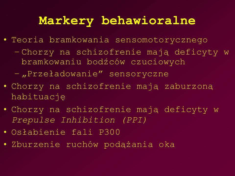 """Markery behawioralne Teoria bramkowania sensomotorycznego –Chorzy na schizofrenie mają deficyty w bramkowaniu bodźców czuciowych –""""Przeładowanie sensoryczne Chorzy na schizofrenie mają zaburzoną habituację Chorzy na schizofrenie mają deficyty w Prepulse Inhibition (PPI) Osłabienie fali P300 Zburzenie ruchów podążania oka"""