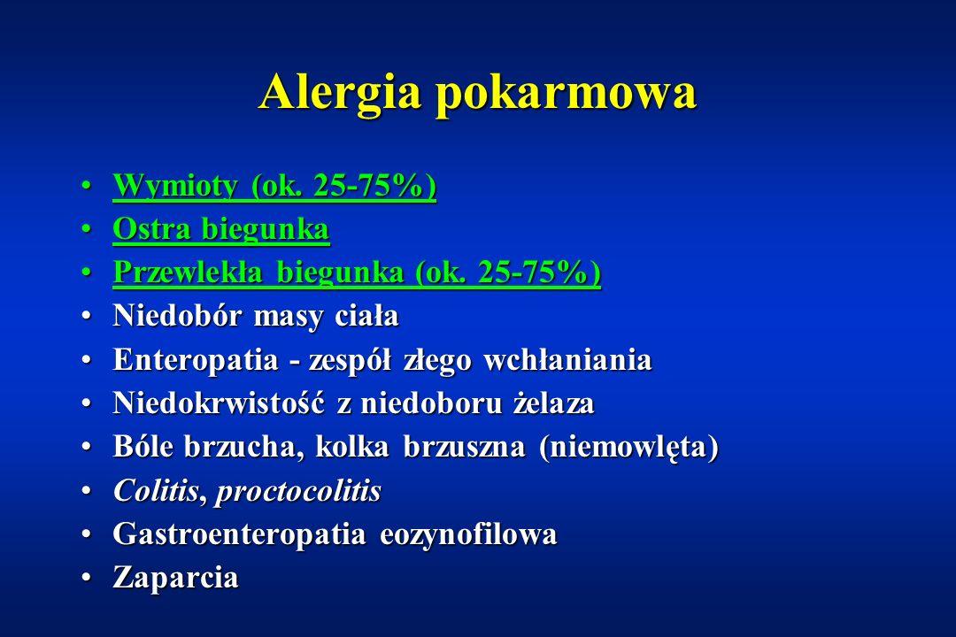 Podział reakcji nadwrażliwości na pokarmy - objawy ze strony przewodu pokarmowego IgEzależneIgEniezależne Reakcja nadwrażliwości typu natychmiastowego Zespół alergii jamy ustnej Zespół alergii jamy ustnej Zapalenie jelitZapalenie jelit Zapalenie odbytnicyZapalenie odbytnicy EnteropatiaEnteropatia CeliakiaCeliakia Alergiczne eozynofilowe zap.