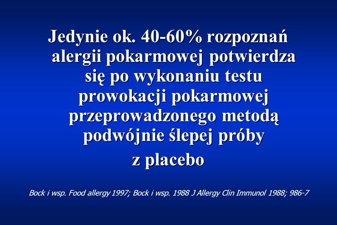 Próby prowokacji OtwartaOtwarta zarówno chory i/lub rodzice, jak i lekarz wiedzą, jakizarówno chory i/lub rodzice, jak i lekarz wiedzą, jaki pokarm jest stosowany ŚlepaŚlepa jedynie prowadzący badanie, a nie chory i/lub jego rodzicejedynie prowadzący badanie, a nie chory i/lub jego rodzice wiedzą jaki pokarm jest stosowany Podwójnie ślepa z użyciem placeboPodwójnie ślepa z użyciem placebo złota zasada rozpoznawania alergii pokarmowychzłota zasada rozpoznawania alergii pokarmowych randomizowane podawanie verum (właściwego pokarmu) i placeborandomizowane podawanie verum (właściwego pokarmu) i placebo nikt z zainteresowanych nie wie jaki pokarm jest podawanynikt z zainteresowanych nie wie jaki pokarm jest podawany