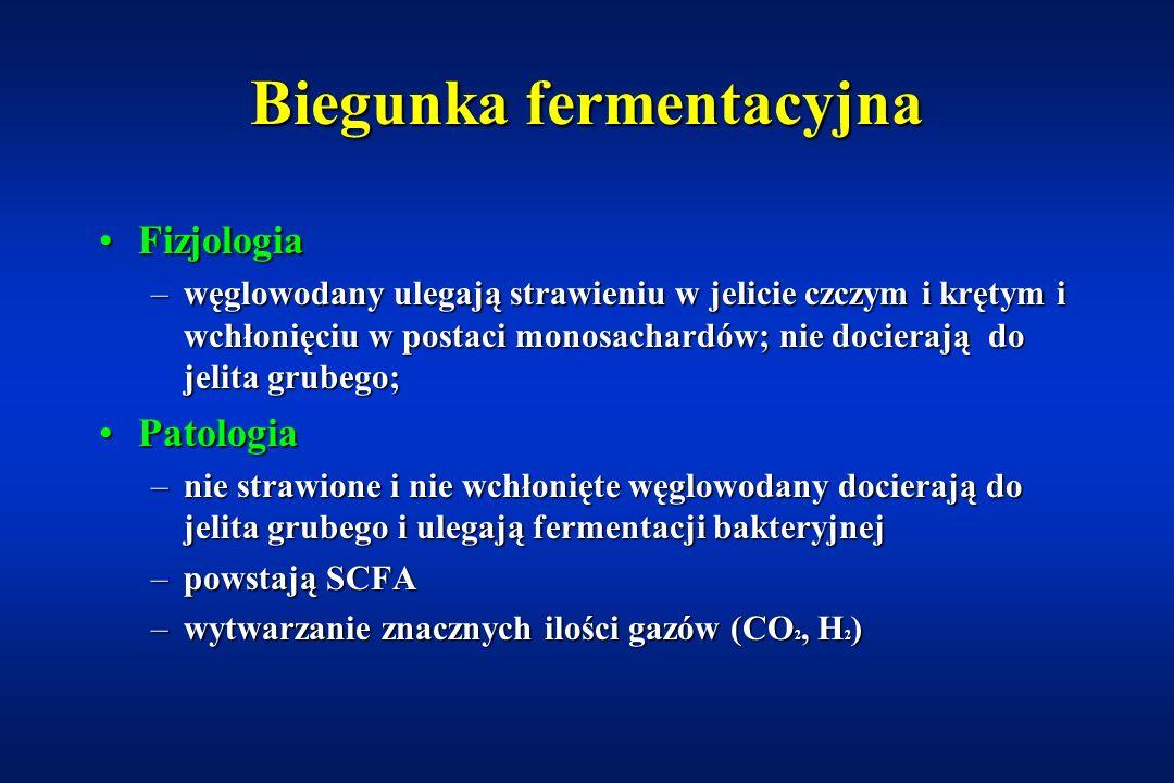 Nietolerancje dwusacharydów Laktoza = glukoza + galaktozaLaktoza = glukoza + galaktoza (wiązanie  -1,4-glikozydowe) enzym: laktaza Sacharoza = glukoz