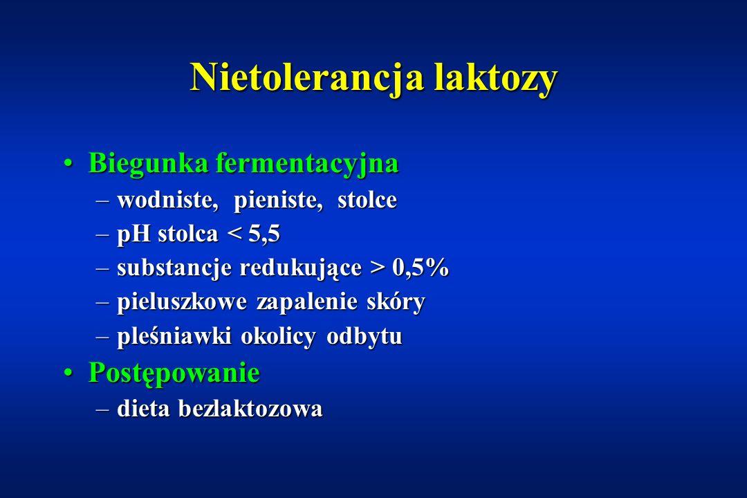 Nietolerancja laktozy Pierwotny niedobór laktazy – bardzo rzadko!Pierwotny niedobór laktazy – bardzo rzadko! Wtórny niedobór laktazyWtórny niedobór la