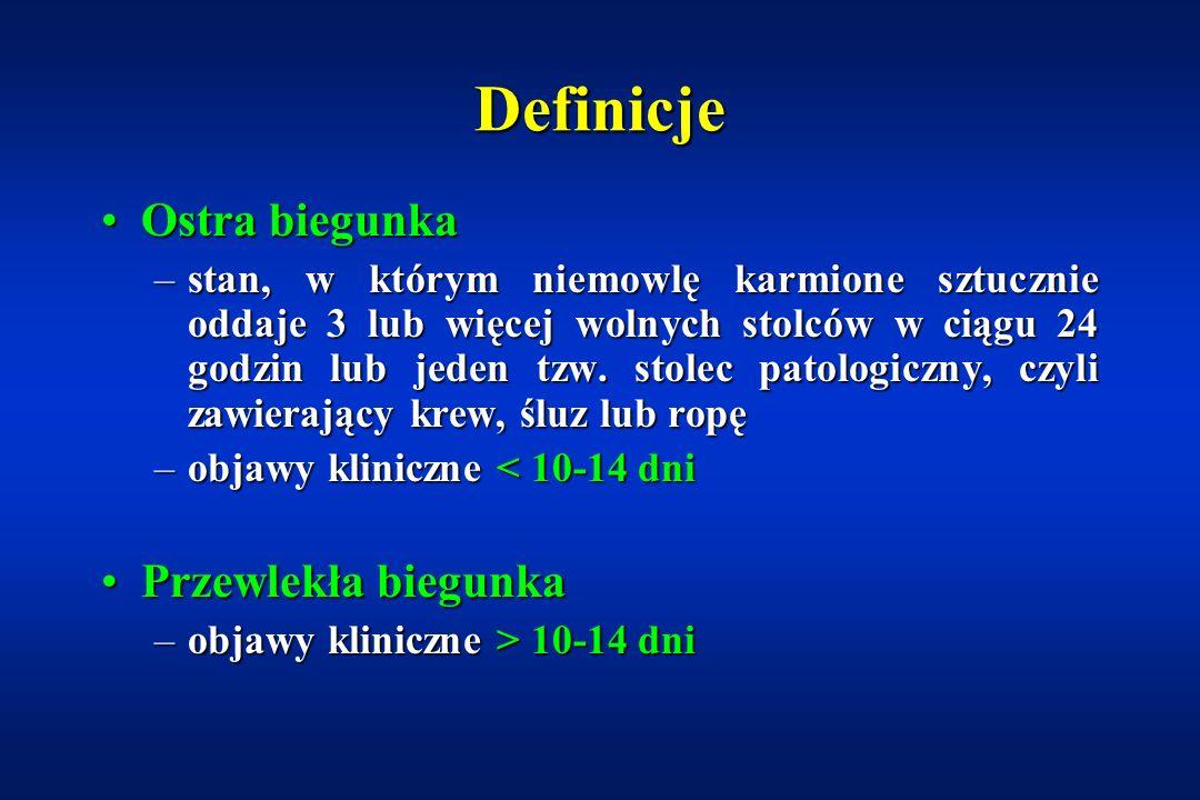 Biegunki przewlekłe DefinicjeDefinicje Patomechanizm biegunek przewlekłychPatomechanizm biegunek przewlekłych Biegunka osmotyczna i sekrecyjnaBiegunka osmotyczna i sekrecyjna Zaburzenia trawienia a zaburzenia wchłanianiaZaburzenia trawienia a zaburzenia wchłaniania Częste przyczyny przewlekłej biegunkiCzęste przyczyny przewlekłej biegunki –biegunka poinfekcyjna, przewlekła niespecyficzna biegunka, alergia pokarmowa, celiakia, mukowiscydoza Rzadkie przyczyny przewlekłej biegunkiRzadkie przyczyny przewlekłej biegunki –biegunka chlorkowa, sodowa, wrodzony zanik mikrokosmków, dysplazja epitelialna, biegunka autoimmunologiczna