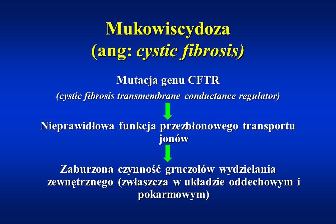 Mukowiscydoza Najczęściej występująca uwarunkowana genetycznie choroba monogenowa (1 : 1700)Najczęściej występująca uwarunkowana genetycznie choroba monogenowa (1 : 1700) Dziedziczona autosomalnie recesywnieDziedziczona autosomalnie recesywnie Przyczyna – mutacja genu CFTRPrzyczyna – mutacja genu CFTR