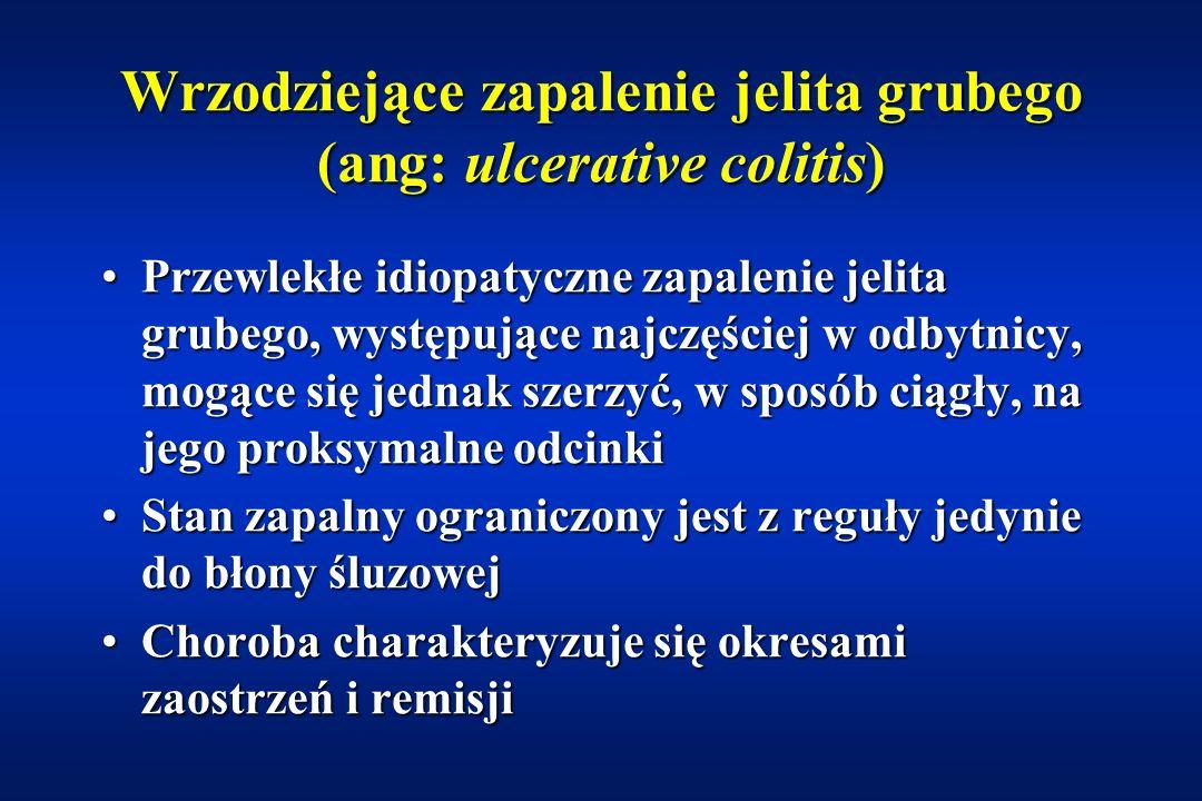 Przewlekłe nieswoiste zapalenia jelit (ang: inflammatory bowel disease) Wrzodziejące zapalenie jelita grubego (colitis ulcerosa)Wrzodziejące zapalenie jelita grubego (colitis ulcerosa) Choroba Leśniowskiego-CrohnaChoroba Leśniowskiego-Crohna Nieokreślone przewlekłe zapalenie jelit -15%Nieokreślone przewlekłe zapalenie jelit -15%