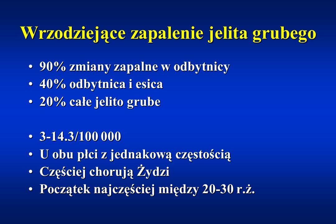 Wrzodziejące zapalenie jelita grubego (ang: ulcerative colitis) Przewlekłe idiopatyczne zapalenie jelita grubego, występujące najczęściej w odbytnicy,