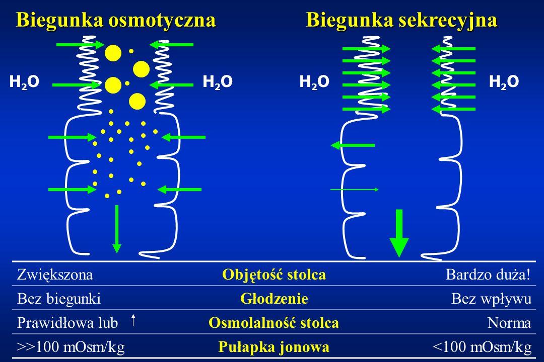 Biegunki przewlekłe - patomechanizm Uszkodzenie kosmków i mikrokosmkówUszkodzenie kosmków i mikrokosmków Obniżona aktywność dwusacharydaz (zwłaszcza laktazy)Obniżona aktywność dwusacharydaz (zwłaszcza laktazy) Zwiększona przepuszczalność śluzówki jelitZwiększona przepuszczalność śluzówki jelit Wtórna alergizacja na antygeny pokarmoweWtórna alergizacja na antygeny pokarmowe DysbakteriozaDysbakterioza Dekonjugacja kwasów żółciowychDekonjugacja kwasów żółciowych