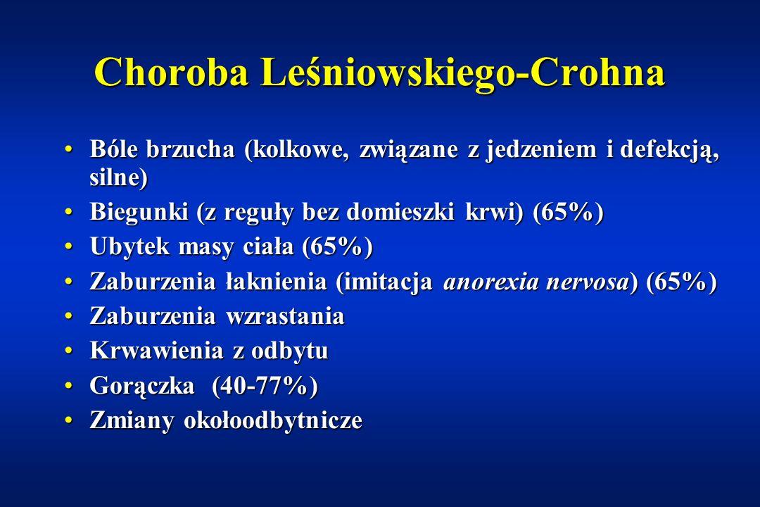 Choroba Leśniowskiego-Crohna (ang: Crohn's disease) Przewlekłe idiopatyczne, wykazujące skłonność do ziarninowania, nieswoiste zapalenie jelitPrzewlek