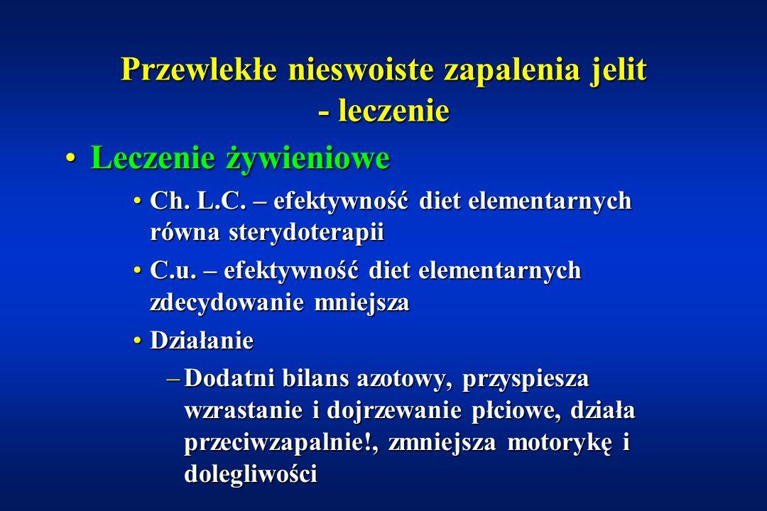 Przewlekłe nieswoiste zapalenia jelit - leczenie FarmakoterapiaFarmakoterapia –Glikokortykoidy –5-ASA, SASP, ADS (olsalazyna) –Metronidazol –Azatiopryna i 6-merkaptopuryna –Cyklosporyna Leczenie żywienioweLeczenie żywieniowe –Diety polimeryczne, półelementarne, elementarne