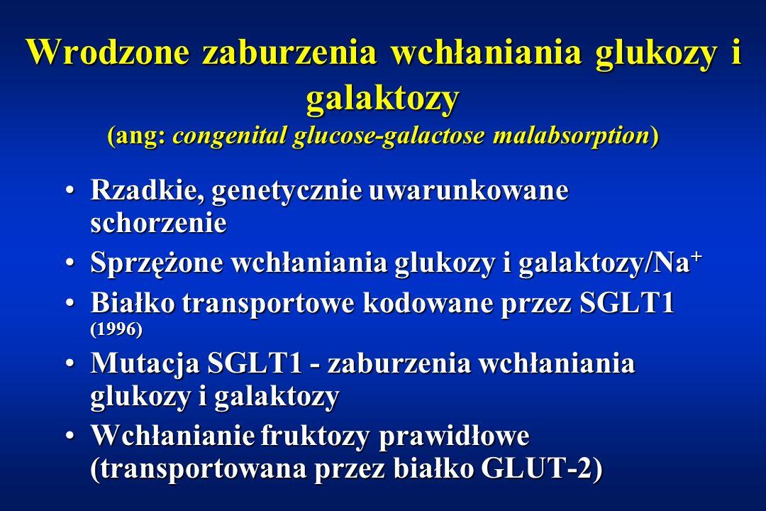 Wrodzony niedobór laktazy (ang: congenital lactase deficiency) Rzadkie schorzenie uwarunkowane genetycznieRzadkie schorzenie uwarunkowane genetycznie Dziedziczenie autosomalne recesywneDziedziczenie autosomalne recesywne Większość opisów przypadków z FinlandiiWiększość opisów przypadków z Finlandii hypolactasia > alactasiahypolactasia > alactasia W odróżnieniu od wtórnej nietolerancji laktozyW odróżnieniu od wtórnej nietolerancji laktozy –prawidłowy obraz morfologiczny śluzówki jelita cienkiego –aktywność pozostałych dwusacharydaz prawidłowa Wodnista, pienista, kwaśna biegunka od urodzeniaWodnista, pienista, kwaśna biegunka od urodzenia Leczenie: dieta eliminacyjnaLeczenie: dieta eliminacyjna