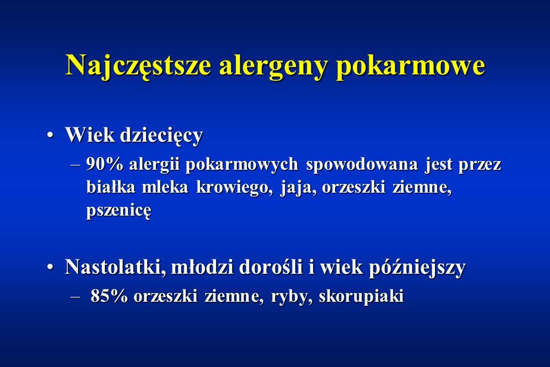 Alergie pokarmowe częstość występowania Alergia na białka mleka krowiegoAlergia na białka mleka krowiego –karmienie sztuczne: 1,9-4,4% –karmienie pier