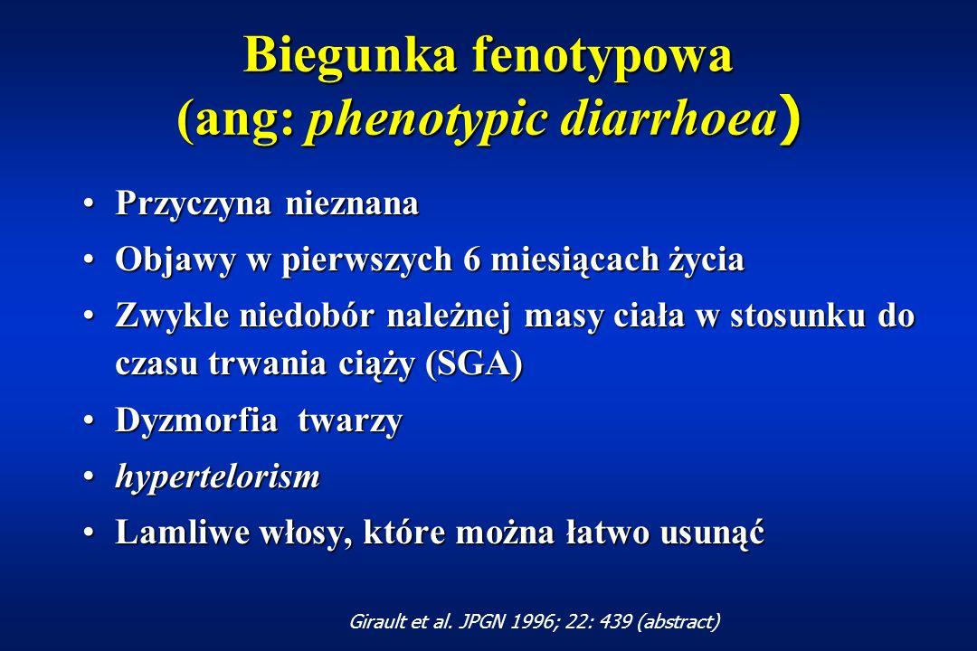 Enteropatia autoimmunologiczna ( ang: autoimmune enteropathy) Leczenie:Leczenie: dieta bezmleczna, bezglutenowa, bezjajecznadieta bezmleczna, bezglutenowa, bezjajeczna sterydy (prednisolone 1-2 mg/kg/d) - zwykle nieskutecznesterydy (prednisolone 1-2 mg/kg/d) - zwykle nieskuteczne azatiopryna - efekt tylko w przypadkach sterydowrażliwychazatiopryna - efekt tylko w przypadkach sterydowrażliwych cyklosporyna; tacrolismus (FK506)cyklosporyna; tacrolismus (FK506) Unsworth et al.