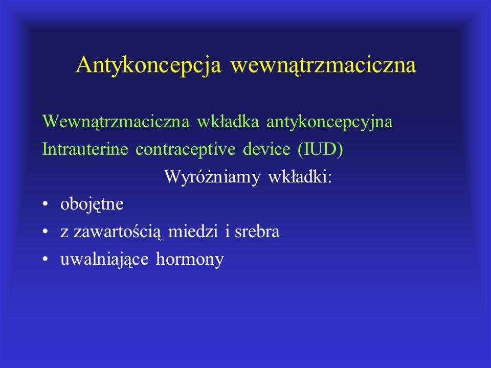 Antykoncepcja wewnątrzmaciczna Wewnątrzmaciczna wkładka antykoncepcyjna Intrauterine contraceptive device (IUD) Wyróżniamy wkładki: obojętne z zawarto